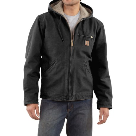 Carhartt Sandstone Sierra Jacket - Sherpa Pile Lining (For Men) in Black