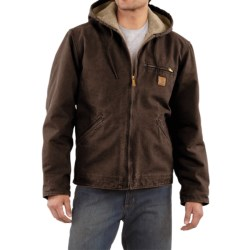 Carhartt Sandstone Sierra Jacket - Sherpa Pile Lining (For Men) in Army Green