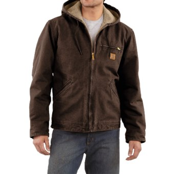 Carhartt Sandstone Sierra Jacket - Sherpa Pile Lining (For Men) in Dark Brown