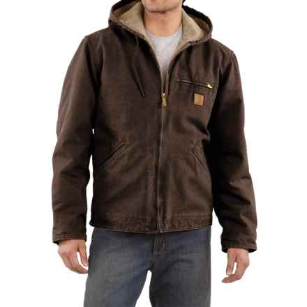 Carhartt Sandstone Sierra Jacket - Sherpa Pile Lining (For Men) in Dark Brown - 2nds