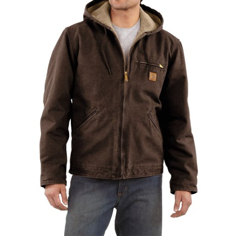 Carhartt Sandstone Sierra Jacket - Sherpa Pile Lining (For Men) in Carhartt Brown