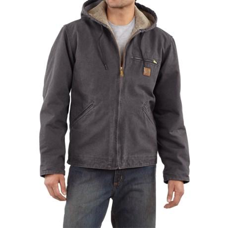 Carhartt Sandstone Sierra Jacket - Sherpa Pile Lining (For Men) in Shadow