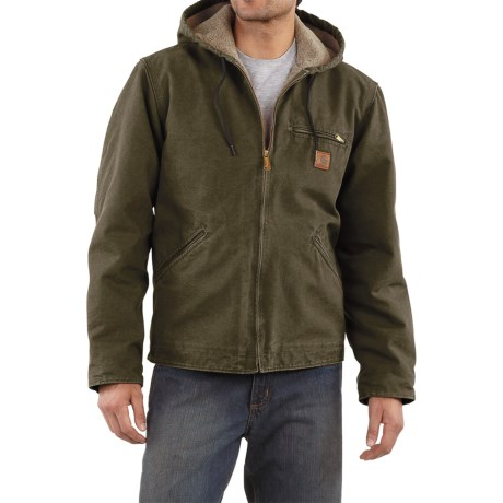 Carhartt Sandstone Sierra Jacket - Sherpa Pile Lining (For Tall Men) in Army Green