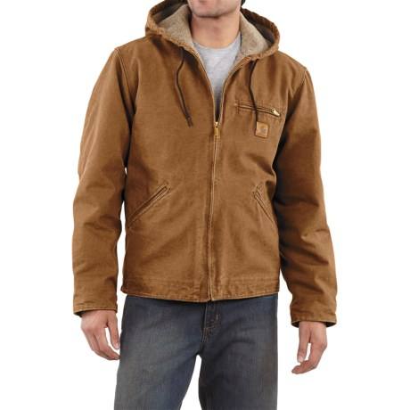 Carhartt Sandstone Sierra Jacket - Sherpa Pile Lining (For Tall Men) in Carhartt Brown
