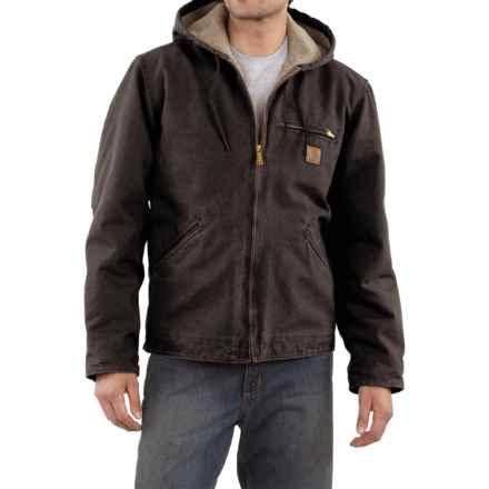Carhartt Sandstone Sierra Jacket - Sherpa Pile Lining (For Tall Men) in Dark Brown - 2nds