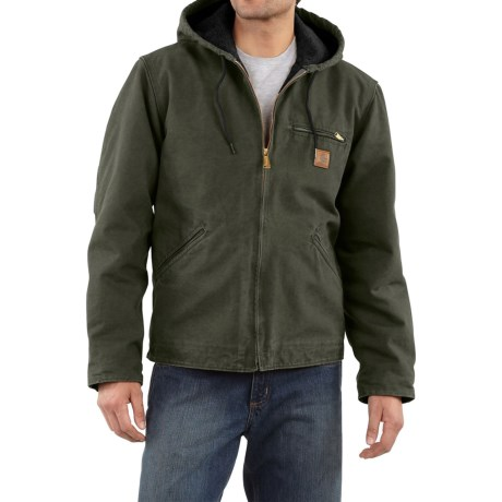 Carhartt Sandstone Sierra Jacket - Sherpa Pile Lining (For Tall Men) in Moss