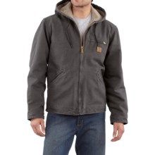 Carhartt Sandstone Sierra Jacket - Sherpa Pile Lining (For Tall Men) in Shadow - 2nds