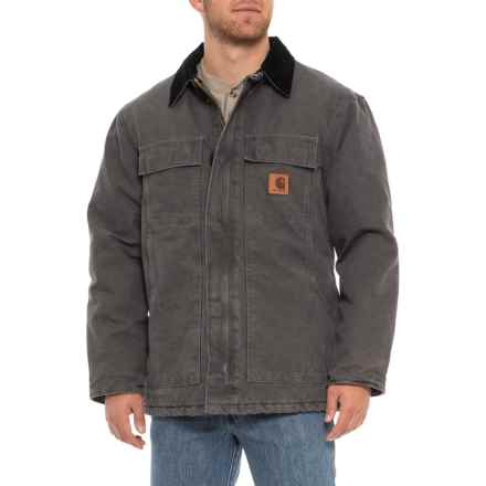 Carhartt Sandstone Traditional Duck Work Coat (For Big and Tall Men) in Gravel - Closeouts