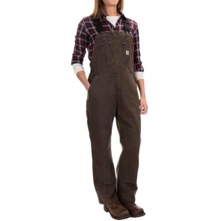 Carhartt Sandstone Unlined Bib Overalls - Factory Seconds (For Women) in Dark Brown - 2nds