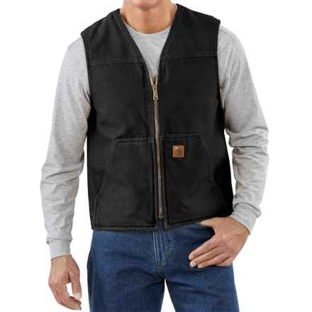 Carhartt Sandstone V-Neck Vest - Sherpa Lined, Factory Seconds (For Big Men) in Black - 2nds