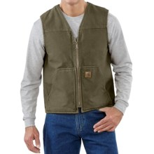 Carhartt Sandstone V-Neck Vest - Sherpa Lined (For Big Men) in Army Green - 2nds