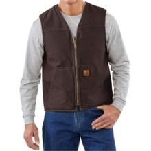 Carhartt Sandstone V-Neck Vest - Sherpa Lined (For Big Men) in Dark Brown - 2nds