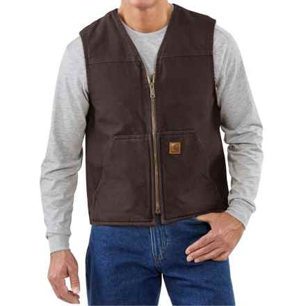 Carhartt Sandstone V-Neck Vest - Sherpa Lined (For Big Men) in Dark Brown - 2nds