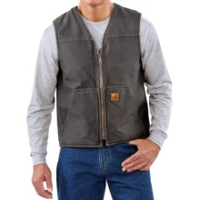 Carhartt Sandstone V-Neck Vest - Sherpa Lined (For Big Men) in Gravel - 2nds