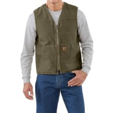 Carhartt Sandstone V-Neck Vest - Sherpa Lined (For Men) in Army Green - 2nds