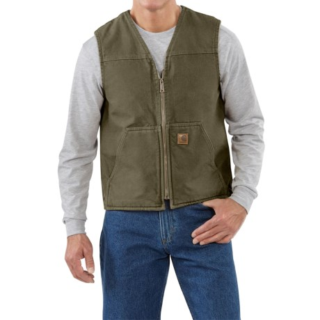 Carhartt Sandstone V-Neck Vest - Sherpa Lined (For Men) in Black
