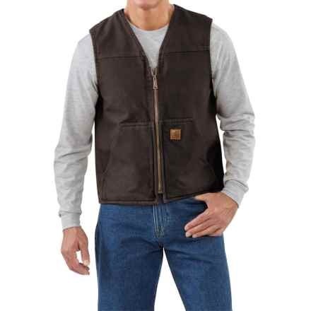 Carhartt Sandstone V-Neck Vest - Sherpa Lined (For Men) in Dark Brown - 2nds