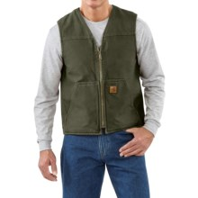 Carhartt Sandstone V-Neck Vest - Sherpa Lined (For Men) in Moss - 2nds