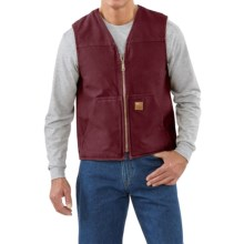 Carhartt Sandstone V-Neck Vest - Sherpa Lined (For Men) in Port - 2nds
