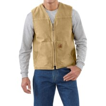 Carhartt Sandstone V-Neck Vest - Sherpa Lined (For Men) in Worn Brown - 2nds