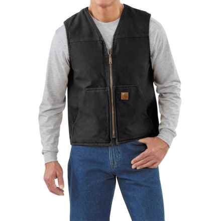 Carhartt Sandstone V-Neck Vest - Sherpa Lining, Factory Seconds (For Men) in Black - 2nds