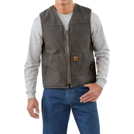 Carhartt Sandstone V-Neck Vest - Sherpa Lining, Factory Seconds (For Men) in Gravel - 2nds