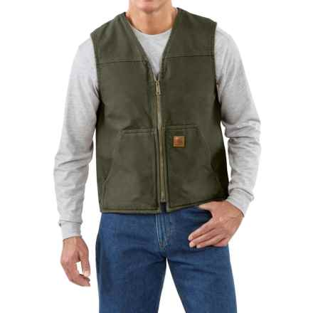 Carhartt Sandstone V-Neck Vest - Sherpa Lining, Factory Seconds (For Men) in Moss - 2nds