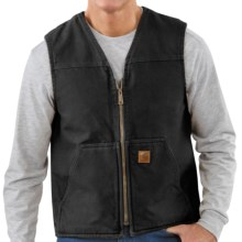 Carhartt Sandstone Vest - Sherpa-Lined (For Tall Men) in Black - 2nds