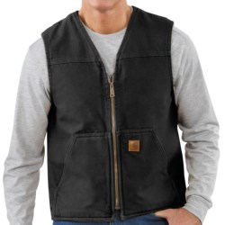 Carhartt Sandstone Vest - Sherpa-Lined (For Tall Men) in Black