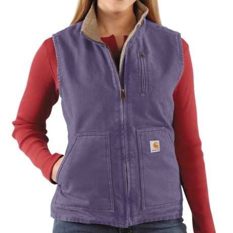 Carhartt Sandstone Vest - Sherpa-Lined (For Women) in Blue Dusk