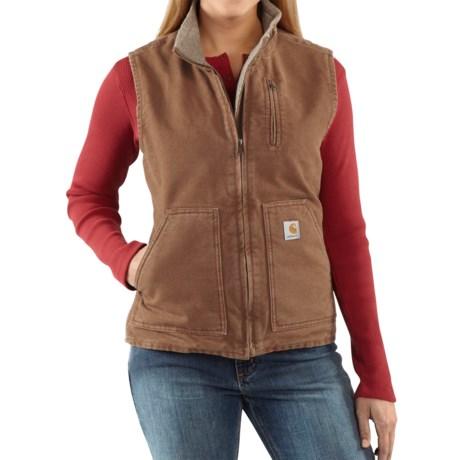 Carhartt Sandstone Vest - Sherpa-Lined (For Women) in Dark Brown
