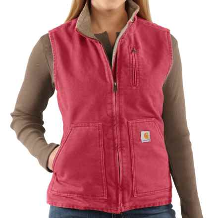 Carhartt Sandstone Vest - Sherpa-Lined (For Women) in Crab Apple - 2nds