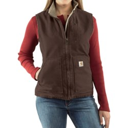 Carhartt Sandstone Vest - Sherpa-Lined (For Women) in Dark Brown