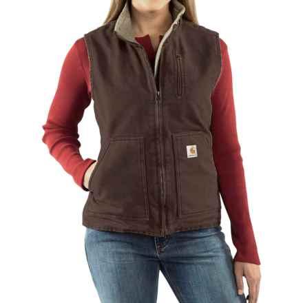 Carhartt Sandstone Vest - Sherpa-Lined (For Women) in Dark Brown - 2nds