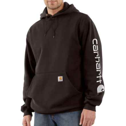 Carhartt Signature Logo Sleeve Hoodie - Factory Seconds (For Big and Tall Men) in Dark Brown - 2nds