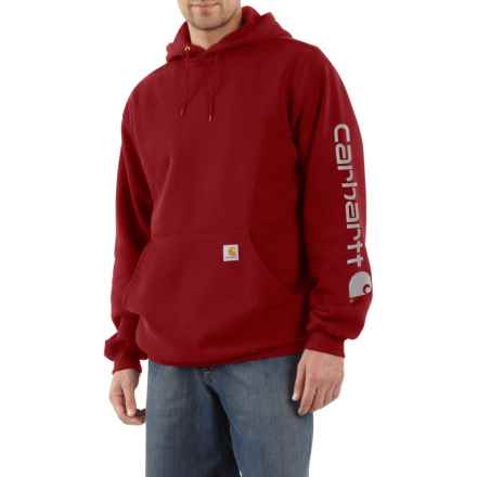 Carhartt Signature Logo Sleeve Hoodie - Factory Seconds (For Big and Tall Men) in Dark Crimson - 2nds