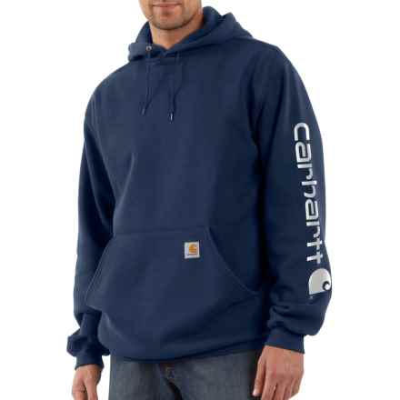 Carhartt Signature Logo Sleeve Hoodie - Factory Seconds (For Big and Tall Men) in New Navy - 2nds