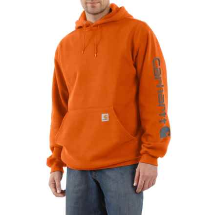Carhartt Signature Logo Sleeve Hoodie - Factory Seconds (For Big and Tall Men) in Orange - 2nds