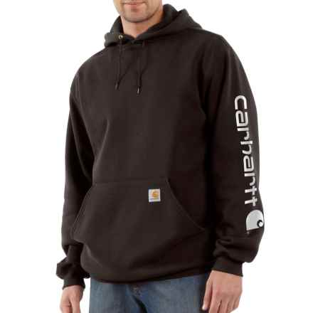 Carhartt Signature Logo Sleeve Hoodie - Factory Seconds (For Men) in Dark Brown - 2nds