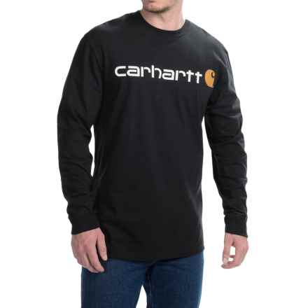 Carhartt Signature Logo T-Shirt - Long Sleeve (For Big and Tall Men) in Black - 2nds