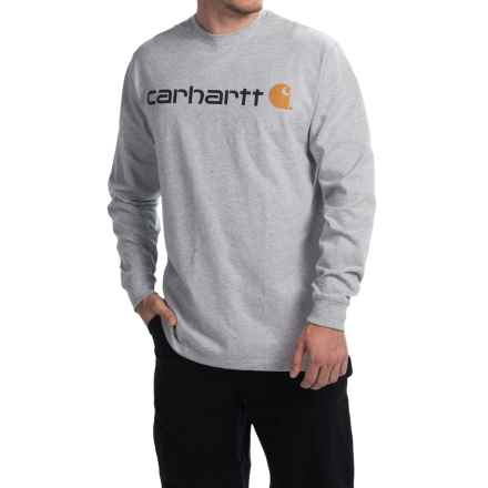 Carhartt Signature Logo T-Shirt - Long Sleeve (For Big and Tall Men) in Heather Grey - 2nds