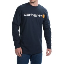 Carhartt Signature Logo T-Shirt - Long Sleeve (For Big and Tall Men) in Navy - 2nds