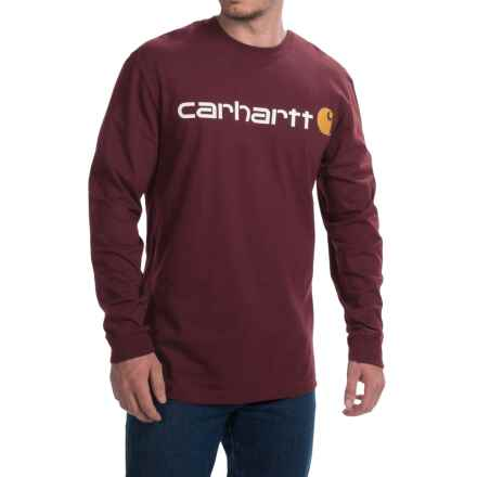 Carhartt Signature Logo T-Shirt - Long Sleeve (For Big and Tall Men) in Port - 2nds