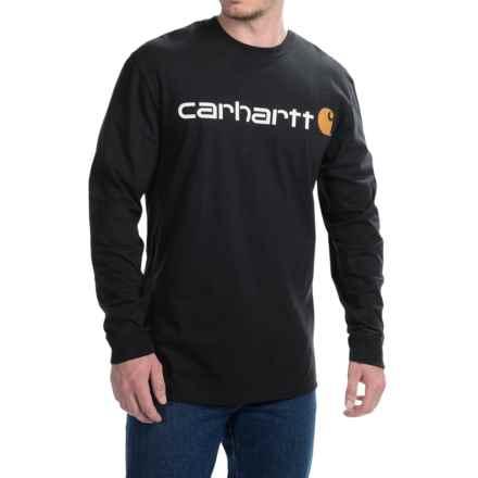 Carhartt Signature Logo T-Shirt - Long Sleeve (For Men) in Black - 2nds