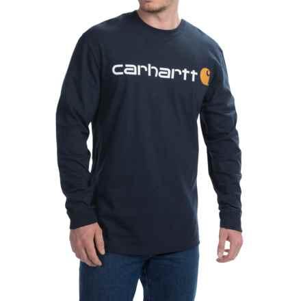 Carhartt Signature Logo T-Shirt - Long Sleeve (For Men) in Navy - 2nds