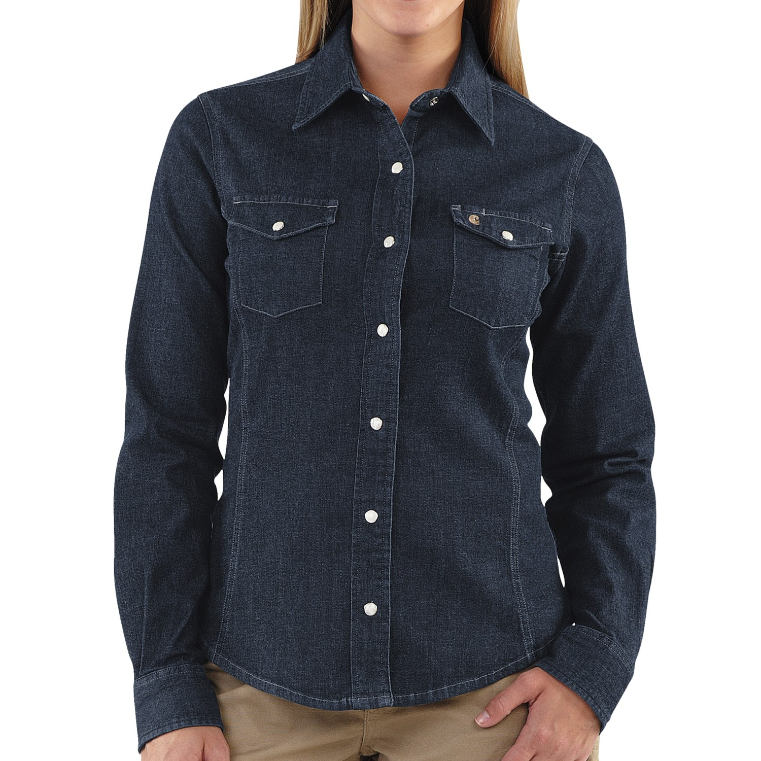 Carhartt snap front denim shirt long sleeve for women for Indigo denim shirt womens