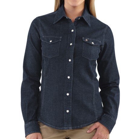 Carhartt Snap-Front Denim Shirt - Long Sleeve (For Women) in Midnight Indigo