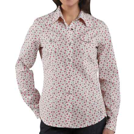 Carhartt Snap Front Printed Cotton Shirt - Long Sleeve (For Women) in Sherbet - 2nds