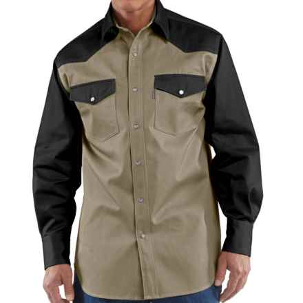 Carhartt Snap-Front Twill Work Shirt - Long Sleeve (For Big Men) in Khaki/Moss - 2nds