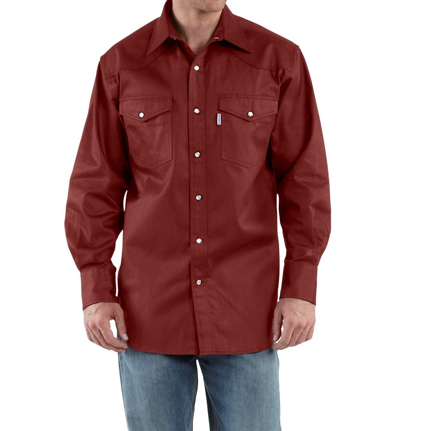 carhartt snap front twill work shirt for tall men